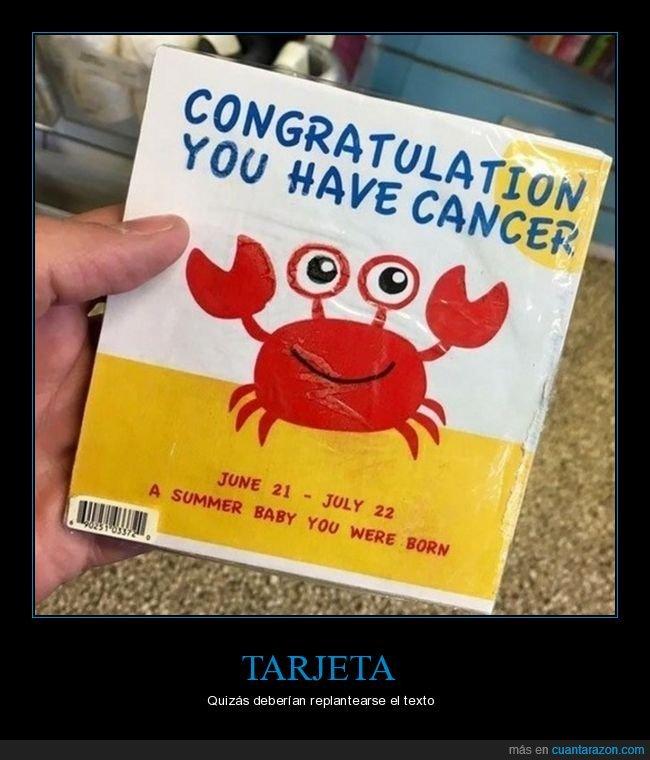 cáncer,enhorabuena,tarjeta,wtf