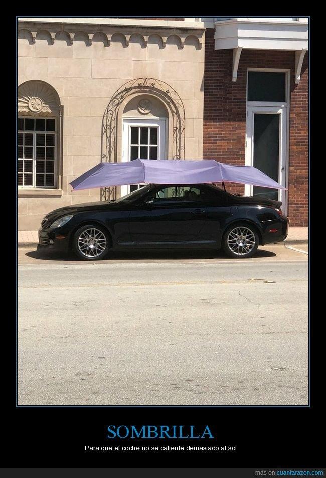 calentarse,coche,sol,sombrilla