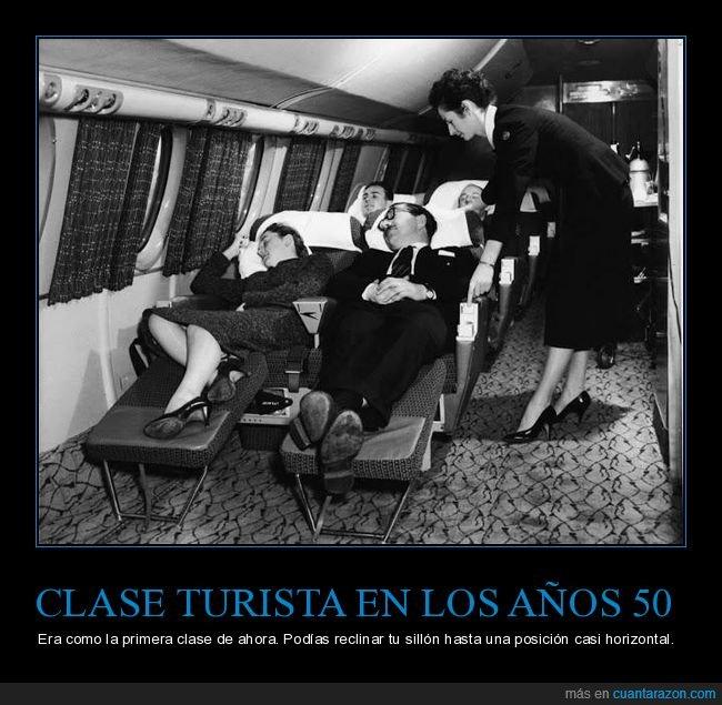 años 50,asiento,avión,clase turista,horizontal,reclinar