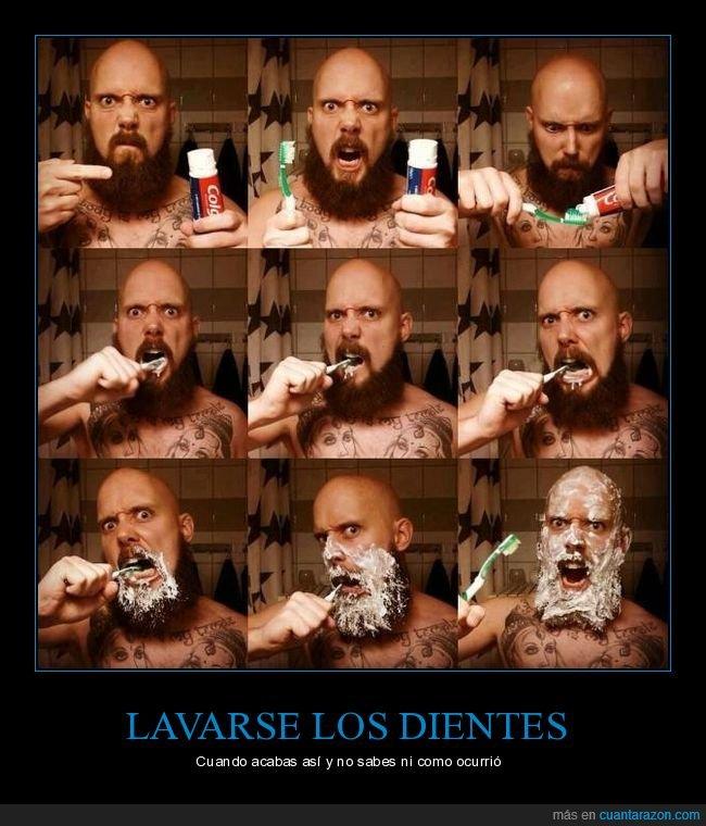 lavarse los dientes,mancharse,wtf
