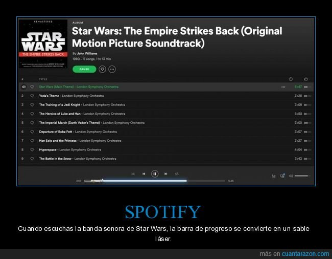 banda sonora,sable láser,spotify,star wars