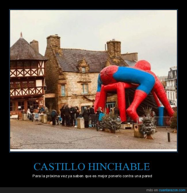 castillo hinchable,culo,spiderman,wtf