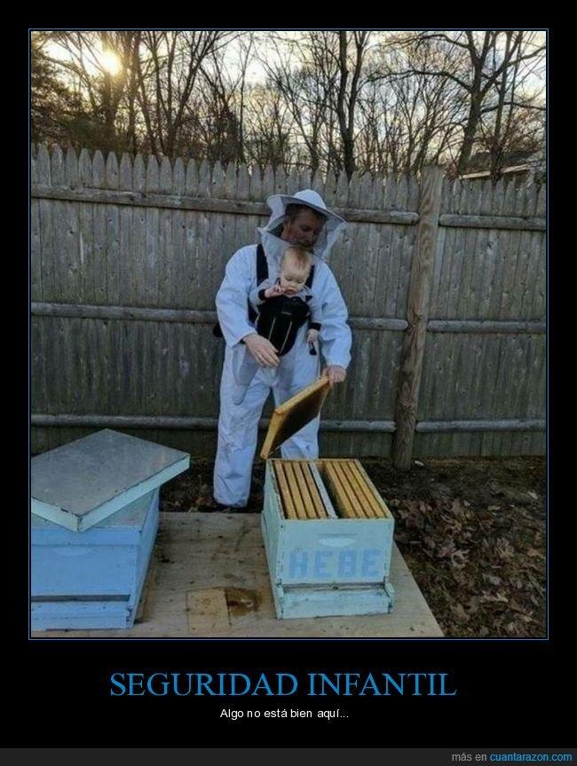 abejas,apicultor,hijo,padre,protección,seguridad