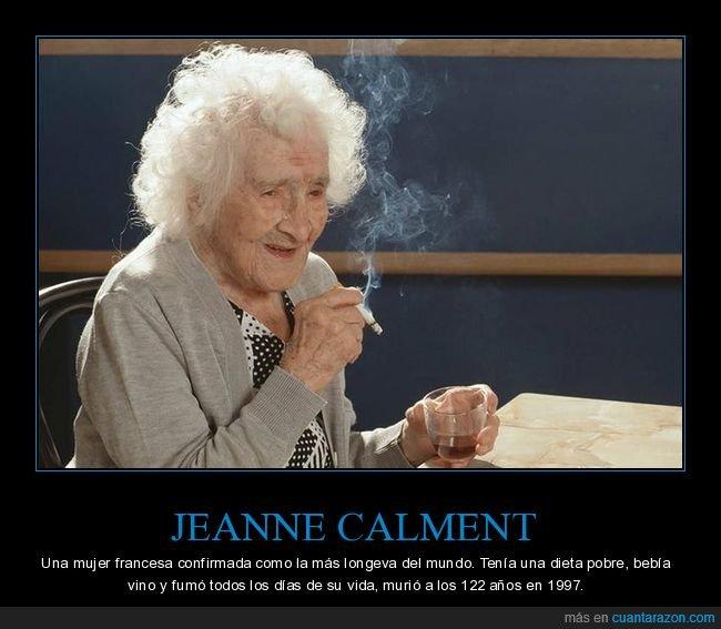 beber,fumar,jeanne calment,longeva