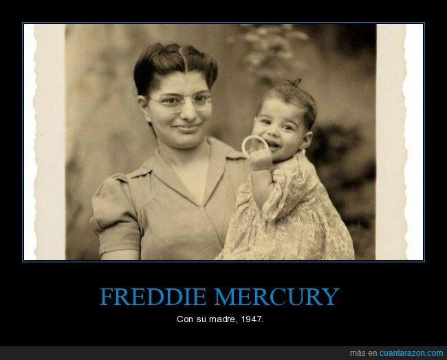 bebé,freddie mercury,madre,retro