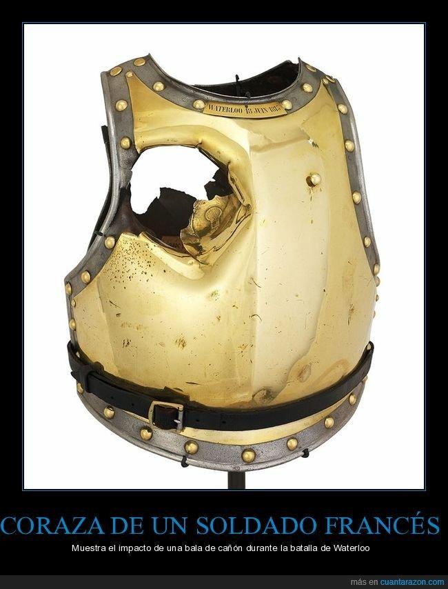 bala de cañón,coraza,francés,impacto,soldado,waterloo