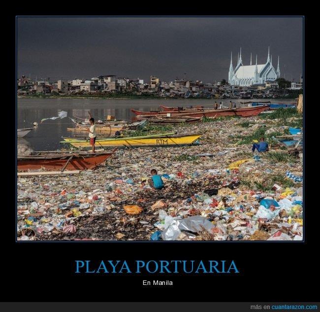 contaminación,manila,playa,suciedad