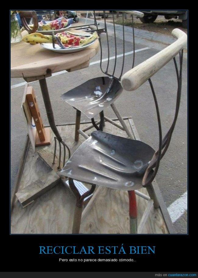 incómodas,recicladas,sillas