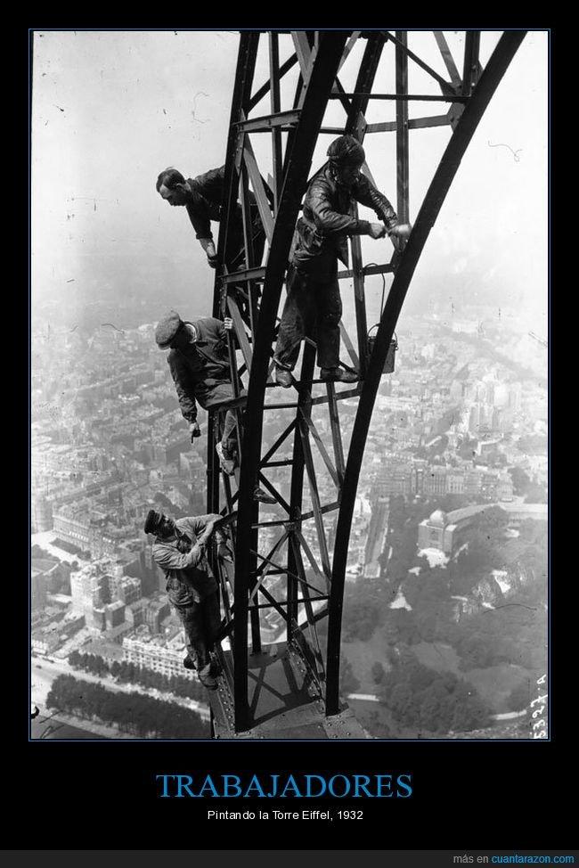 pintando,torre eiffel,trabajadores
