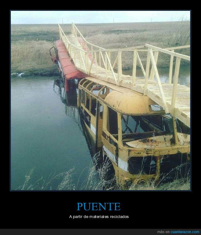 autobuses,puente,río