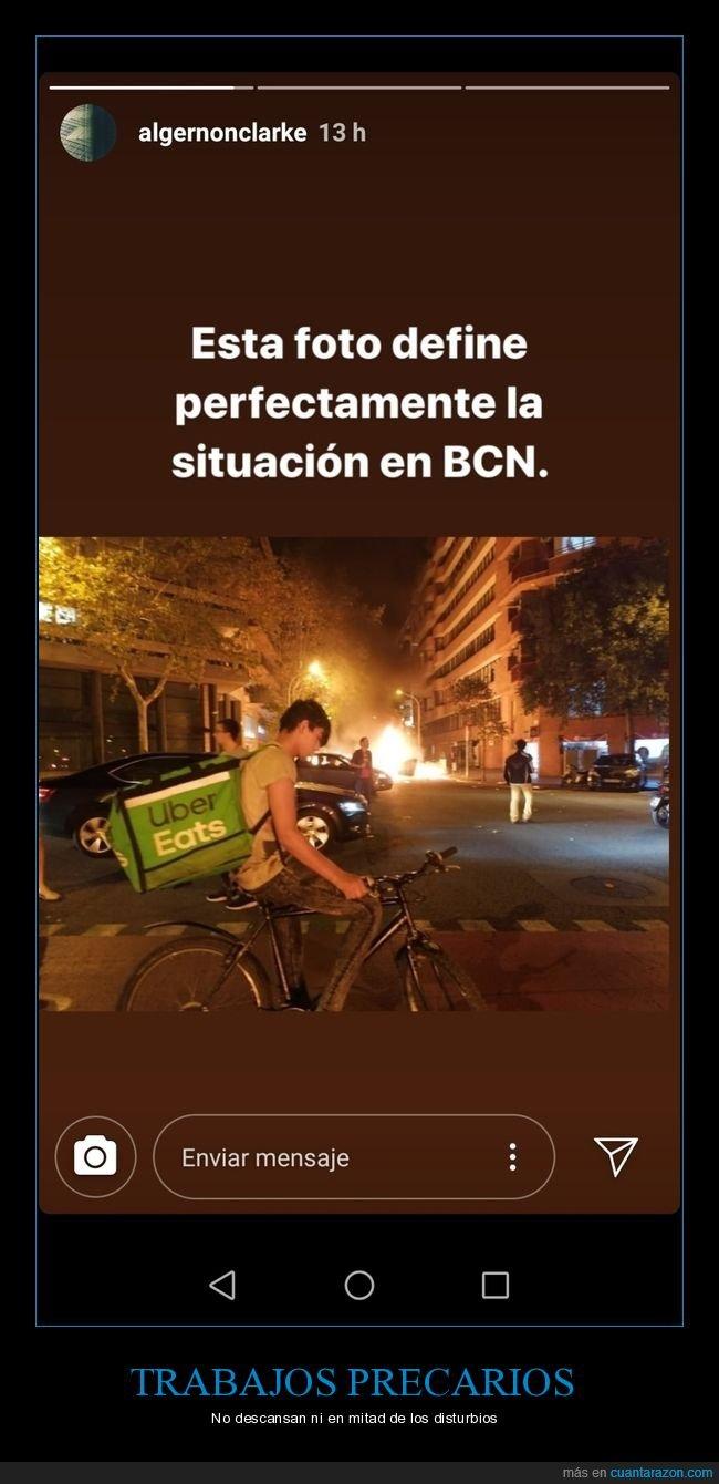 barcelona,cataluña,disturbios,uber eats