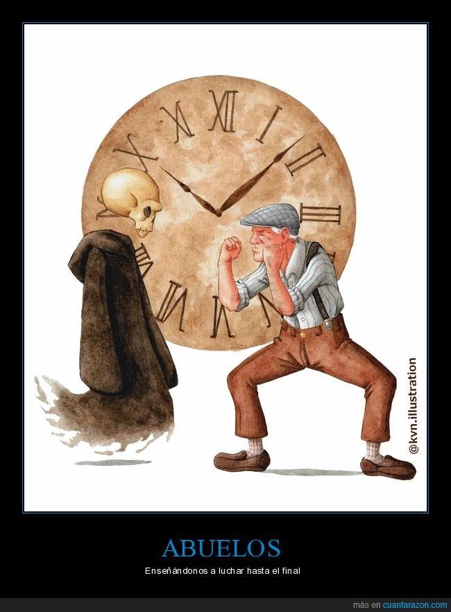 abuelo,anciano,hora,muerte,resistir,tiempo