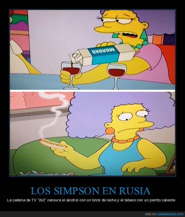 alcohol,censura,hot dog,leche,rusia,simpsons,tabaco