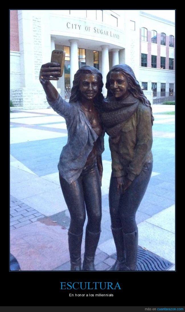 escultura,millennials,selfie