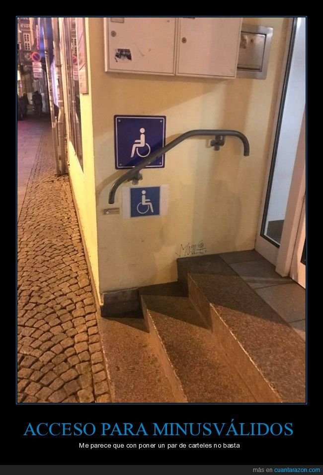 carteles,escaleras,fails,minusválidos