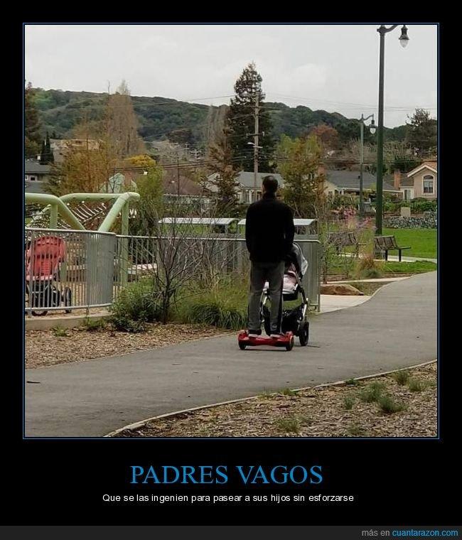 bebé,carrito,hoverboard,padre
