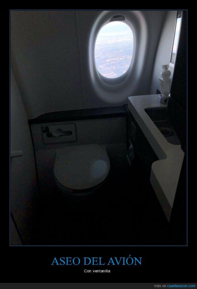 aseo,avión,ventanilla