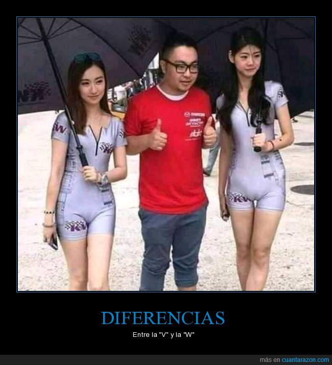 chicas,diferencia,v,w
