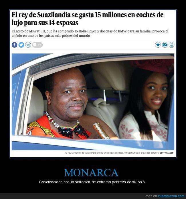 coche de choque,esposas,gastarse,lujo,rey,suazilandia