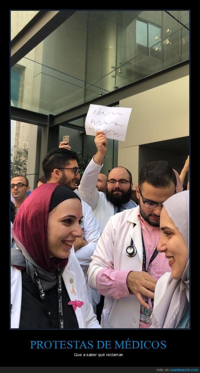 entender,letra,médicos,protesta