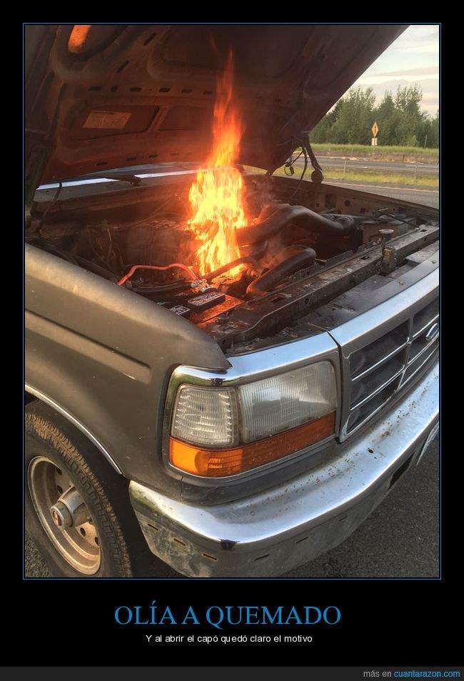 capó,coche,fails,fuego,wtf