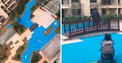 Enlace a Los constructores de este edificio pusieron un falso lago de plástico en vez de uno real, y los propietarios se indignaron