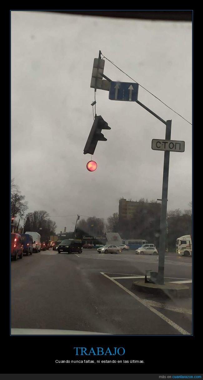 roto,semáforo,trabajo