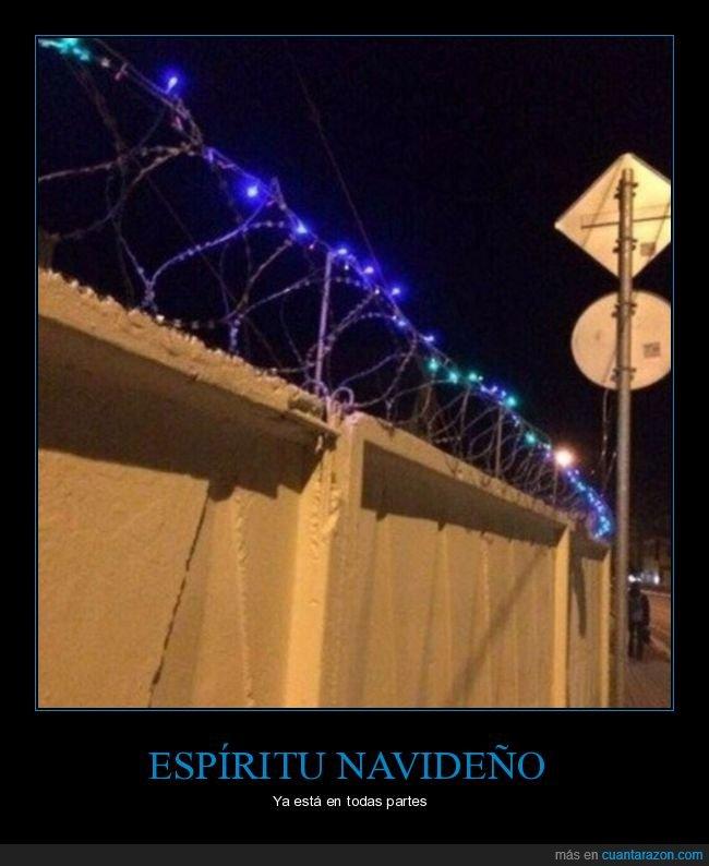 alambre de espinos,luces,navidad,wtf