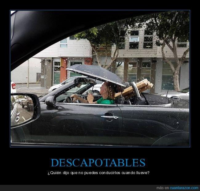 coche,descapotable,lluvia,paraguas,wtf