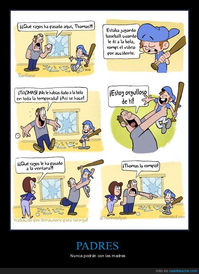 baseball,hijo,madre,padre,pelota,rota,ventana