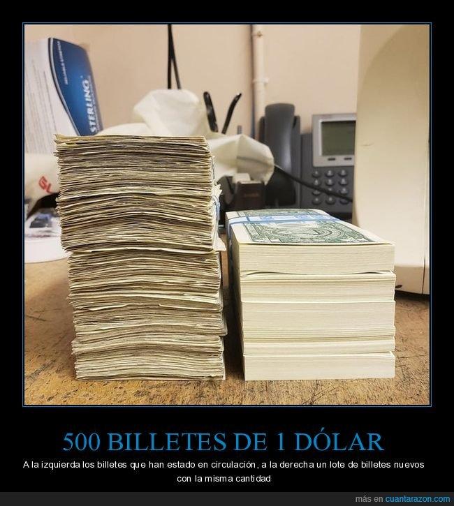 billetes,dólares,nuevos,viejos