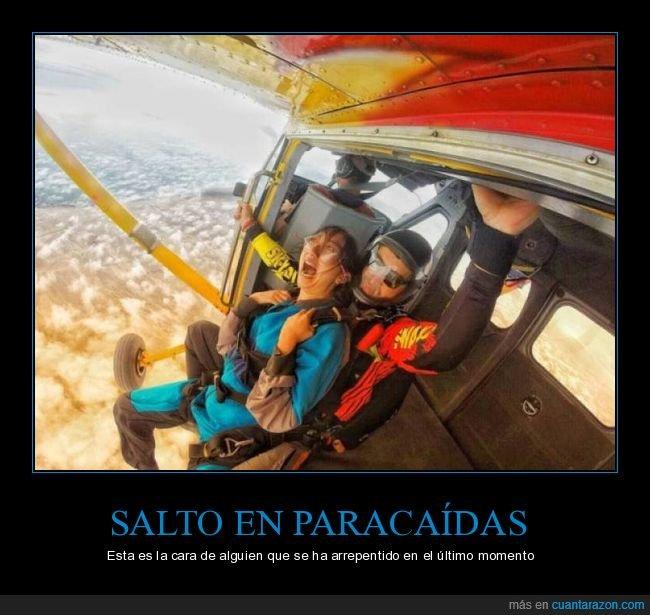 arrepentirse,cara,paracaídas,salto
