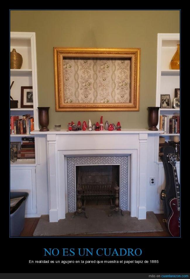 agujero,cuadro,pared,tapiz