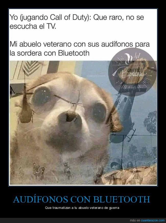 abuelo,audífonos,bluetooth,call of duty,escucharse,veterano