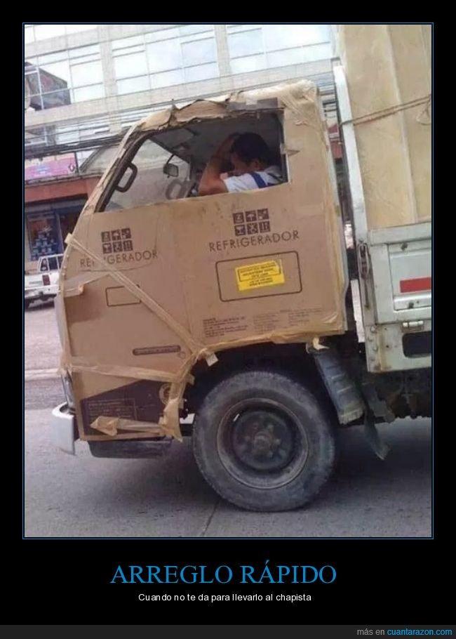 apaño,camión,cartón,wtf