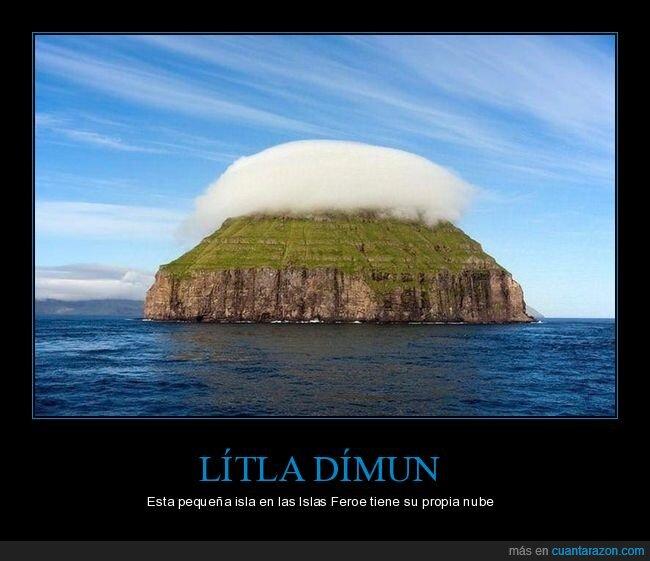 isla,islas feroe,lítla dímun,nube