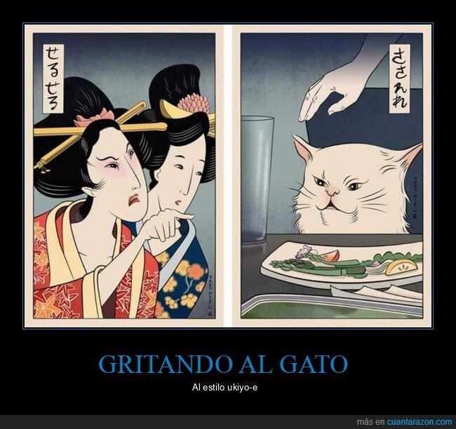 arte,gritando al gato,japonés,ukiyo-e