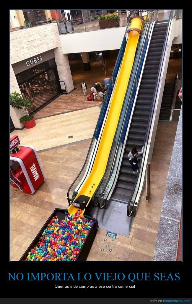 centro comercial,escaleras mecánicas,tobogán