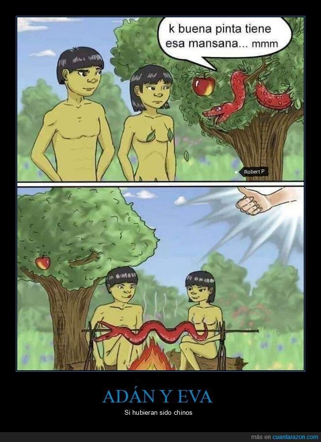 adán y eva,chinos,comer,serpiente
