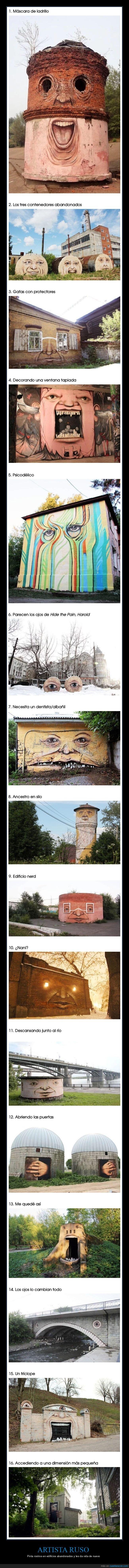 artista,caras,edificios abandonados