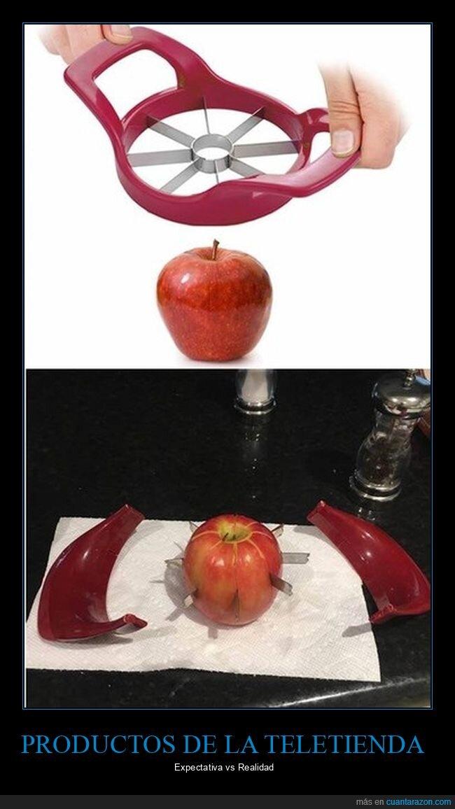 cortador,expectativa,fails,manzana,realidad,teletienda