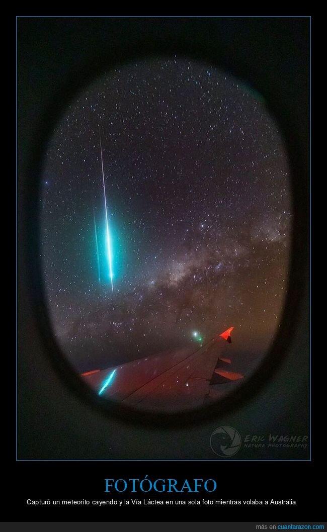 avión,foto,meteorito,via láctea