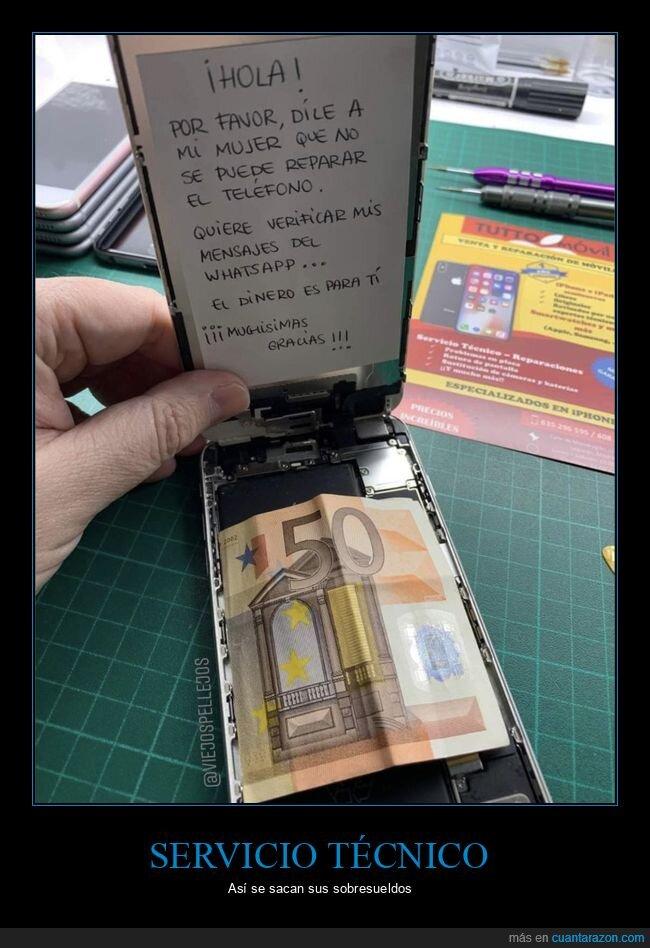 cartel,dinero,móvil,mujer,reparar,whatsapp