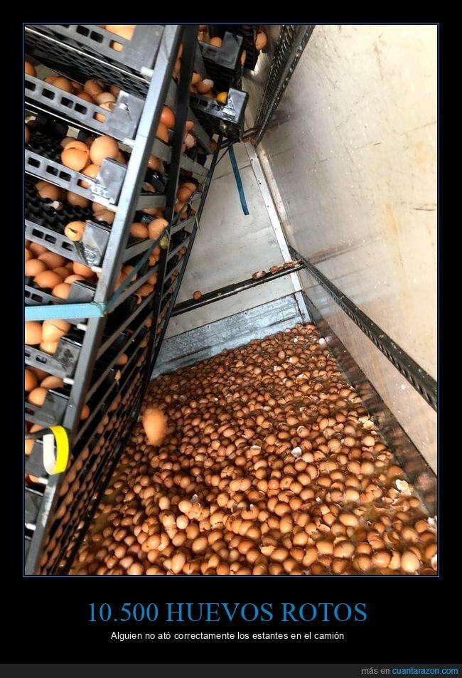 camión,fails,huevos,rotos