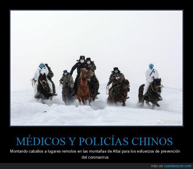 caballos,chinos,coronavirus,médicos,policías