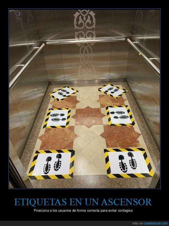 ascensor,contagios,coronavirus,etiquetas