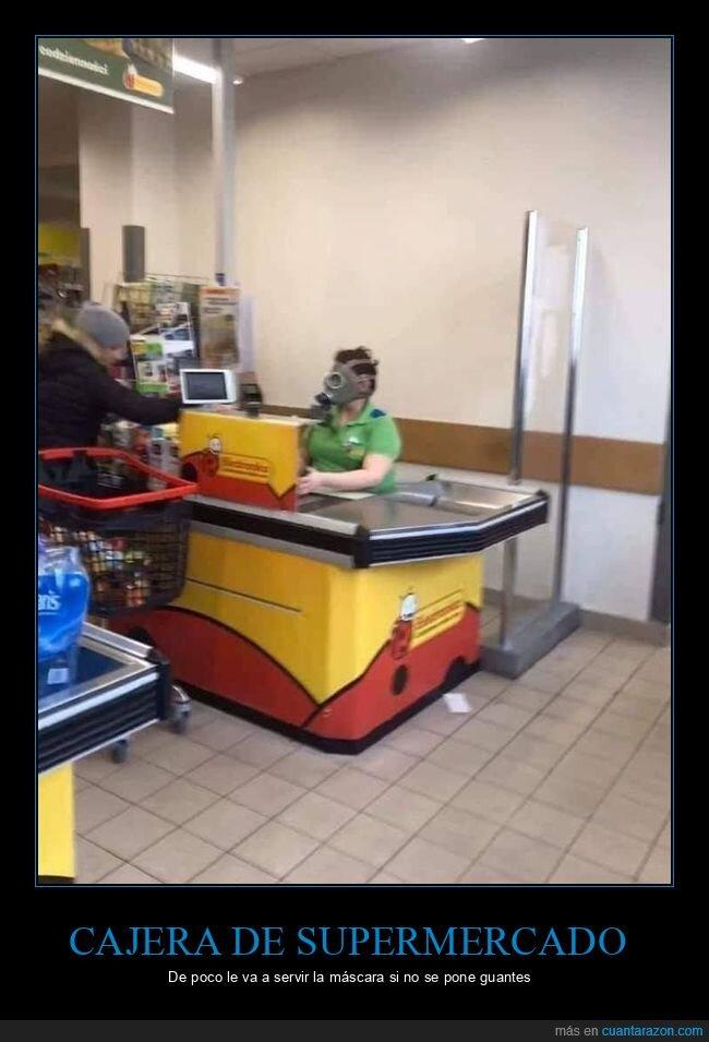 cajera,coronavirus,máscara antigas,supermercado