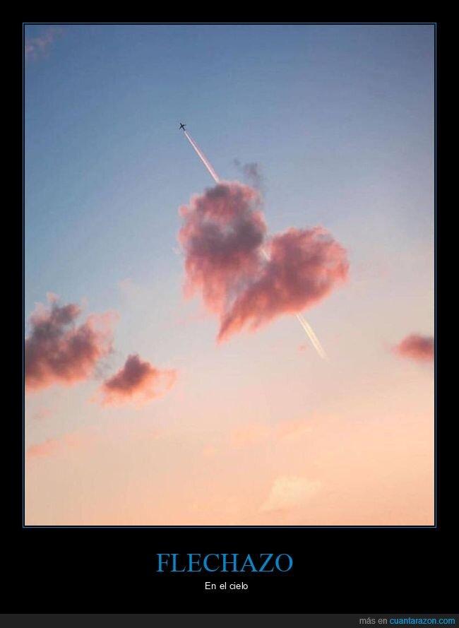 avión,corazón,flechazo,nube