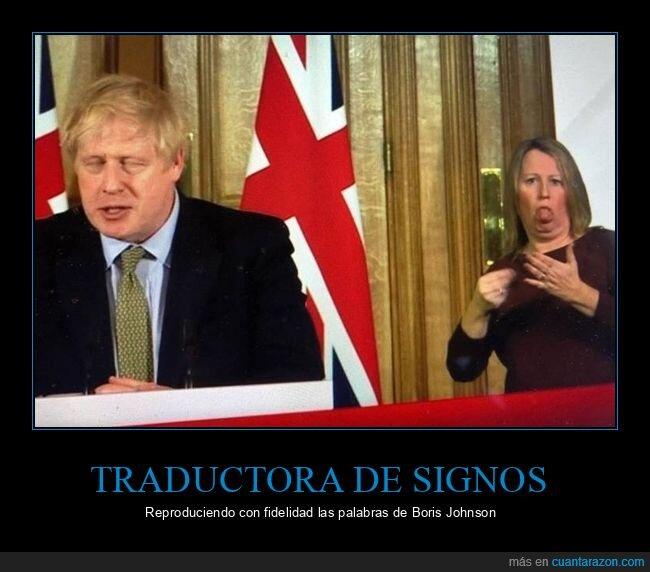 boris johnson,cara,lenguaje de signos,políticos