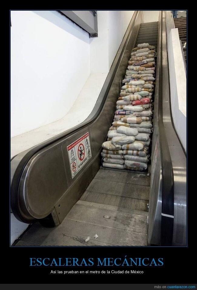 escaleras mecánicas,probar,sacos